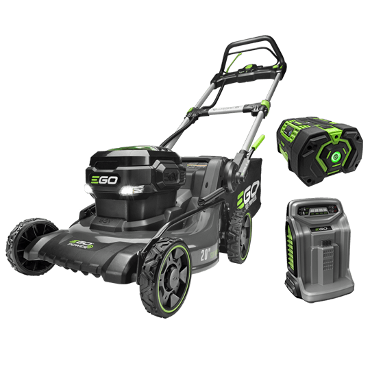 "Power+ 20"" Self-Propelled Lawn Mower With Steel Deck with 7.5Ah battery and rapid charger"