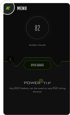Image highlighting where to find the EGO POWER+ app menu