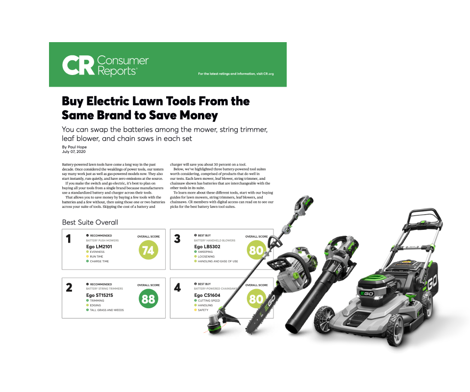Consumer Reports ratings document covering battery-powered suites of tools. Also, image of EGO Power+ Suite of Battery-Powered Tools, including push mower, handheld blower, chainsaw, and string trimmer.