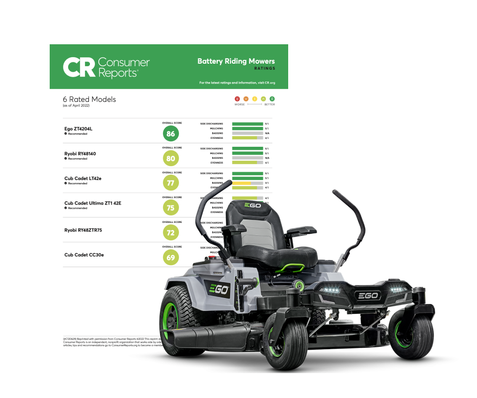 Consumer Reports ratings document covering battery-powered self-propelled mowers. Also, image of EGO Power+ Self-Propelled Mower.