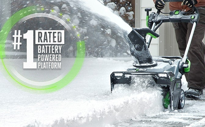 Front view of the Snow Blower with Peak Power™ clearing several inches of snow