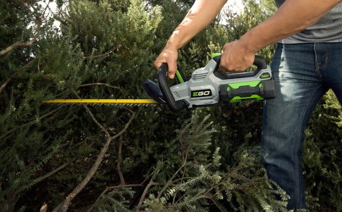 The Brushless Hedge Trimmer in use